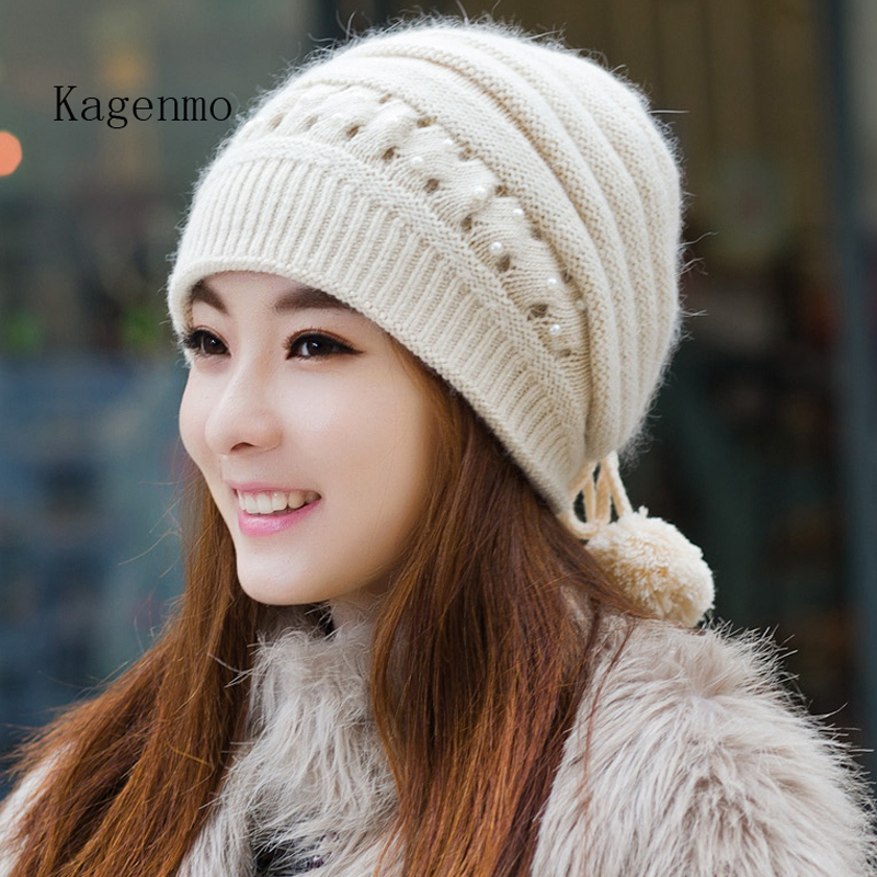 Kagenmo Winter hat female knitted hat autumn and winter fashion ear women's toe cap covering cap new brand female warm beanies kagenmo spring and autumn warm ear protection baseball cap upset cotton hat russian love 5color 1pcs brand new arrive