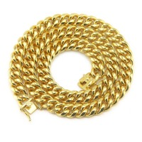 BNRESALE Hip Hop High Polished 15MM Alloy Miami Cuban Chain Necklace Rappers Dancers Basketball Jewelry for Men