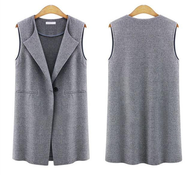 Female Vest Sleeveless Coats Single Button Brief Women's Vests  Female Spring Waistcoat Turn-Down Collar Casual Vest  1