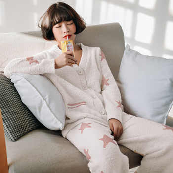 New Winter Lazy Cardigan Womens Pajamas for Women Long Sleeve Pyjamas Warm and Soft Pijama Mujer Japanese Star Family Clothes