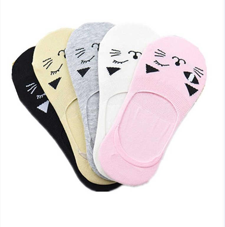 5 pares de Primavera Verano suave Animal lindo calcetines de algodón para mujer Kawaii gato calcetines para las mujeres las niñas Kawaii Cosplay Accesorios