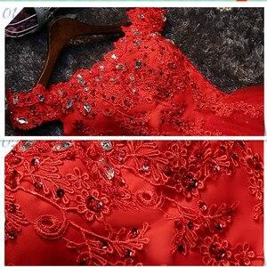 Image 4 - LYG A5 # vestidos de dama de honra broca rendas acima vermelho e branco curto festa de casamento vestido de baile de formatura atacado noiva casar meninas graduação
