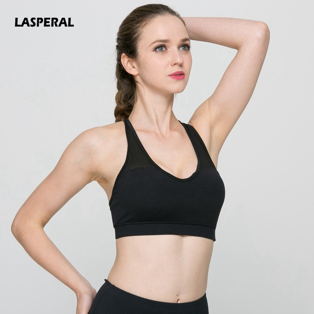 3214f7ee2c LASPERAL 2017 New Women Sports Bra Running Shockproof Breathable Yoga Bra  Sexy Black Mesh Backless Fitness Gym Vest Tank Tops