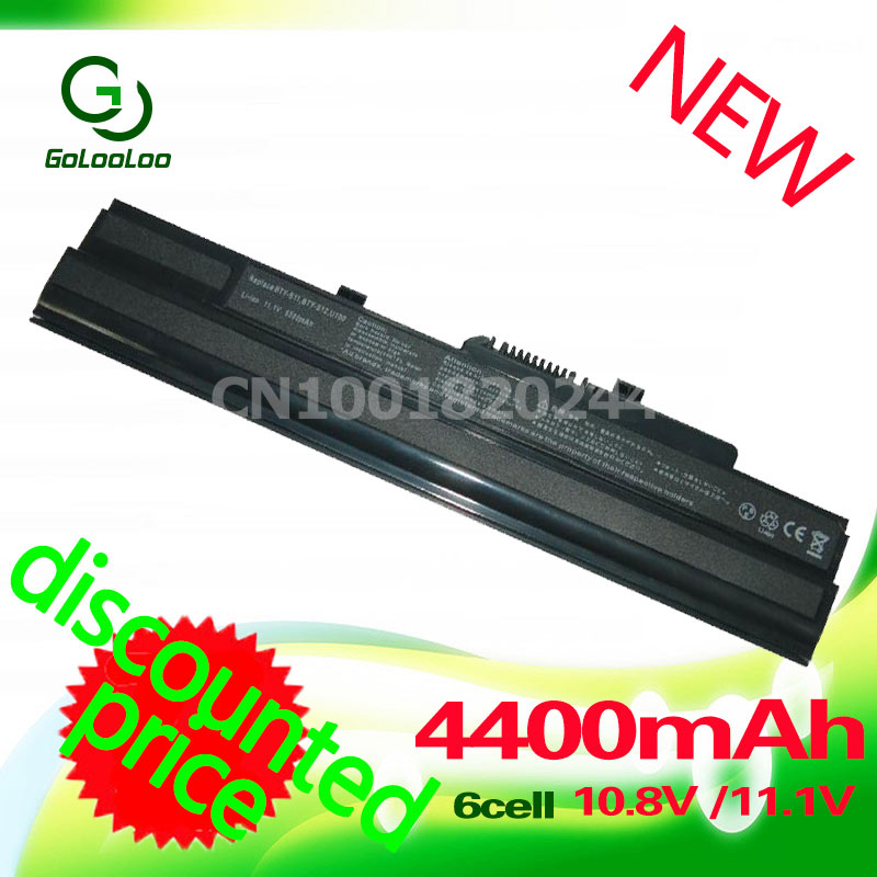 Golooloo 4400MaH Laptop Battery For Msi Wind K40in U90 U210 U100 U230 K40in BTY-S12 3715A-MS6837D1 6317A-RTL8187SE TX2-RTL8187S