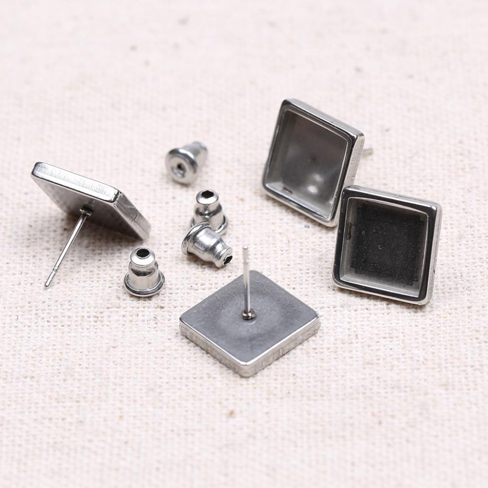 Reidgaller 5pairs Fit 10mm Square Cabochon Earring Base Stainless Steel Stud Earring Findings Diy Post Earrings Material