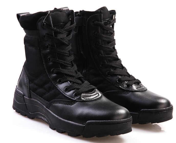 XingDeng Man Pu lederen platte outdoor Desert Tan combat leger laarzen Tactische Politie boot Martin schoenen Maat 39-45