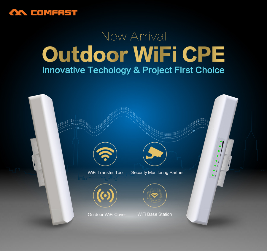 COMFAST 300Mbps Outdoor CPE 2. 4G wi-fi Access Point Wifi Bridge Wireless 1-3KM Range Extender CPE Router For IP Camera CF-E314N comfast 300mbps outdoor cpe 2 4g wi fi ethernet access point cf e314n wifi bridge 1 3km extender cpe router with poe wifi router