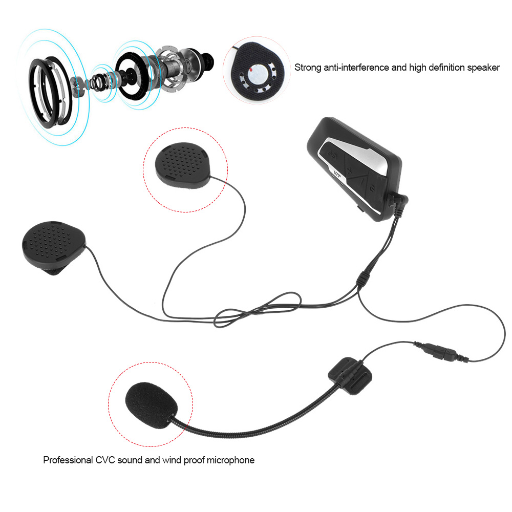 T9s Motorcycle Helmet Bluetooth Headset Intercom 1000m Interphone Wireless In Car V30 Edr Fm Transmitter Charger Kit Music Control Hands Free Call Package List 1 Bt Receiver 2 Boom Microphone Wired Clamps Felted Adhesive Pads Usb Charging Cable User Manual