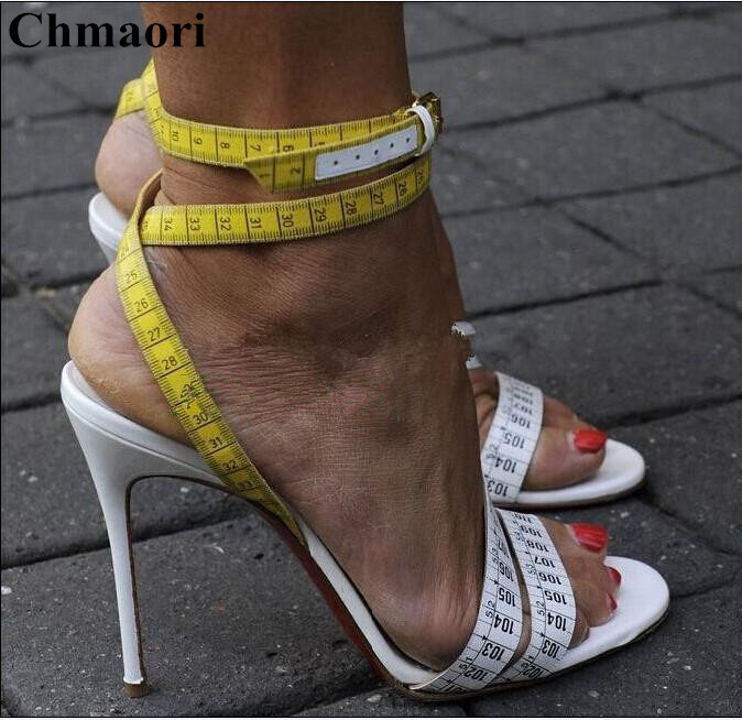 The Latest Design 2018 Fashion Rulers Print Woman Ankle Strap Shoes Woman Peep Toe Gladiator Sandals Girls Thin High Heels ShoesThe Latest Design 2018 Fashion Rulers Print Woman Ankle Strap Shoes Woman Peep Toe Gladiator Sandals Girls Thin High Heels Shoes