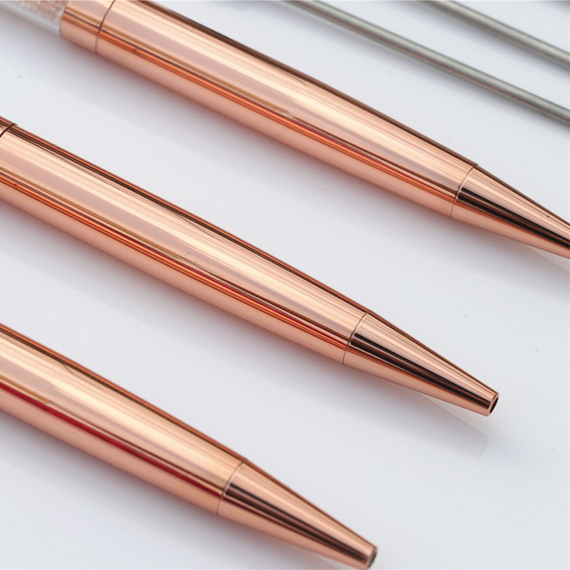 Rose, Rose Gold /& Black Black Ink SUNHE 3Pcs Crystal Diamond Pen Bling Bling Metal Ballpoint Pen for School Stationery Office Supplies