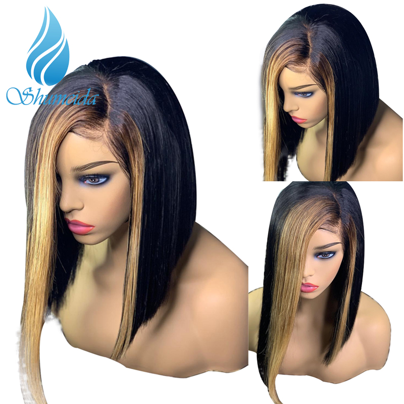 SHD 13x6 Highlights Lace Front Wigs Pre Plucked Brazilian Straight Short Bob Wigs For Women Remy