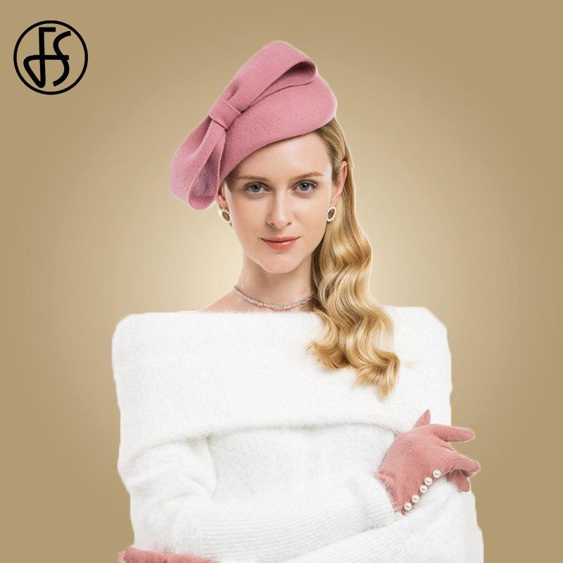 FS Wool Fascinator Winter Elegant Women Pillbox Hat Black Felt Pink Red  Ladies Wedding Hats Bowknot Kentucky Derby Fedoras 06632d6d142