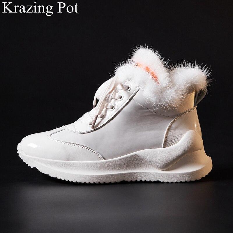 2019 סופרסטאר מותג אביב נעל פרווה תחרה עד מקרית עגול הבוהן עצבי נעל טריז מוגבר פלטפורמת נשים מגופר נעלי L25