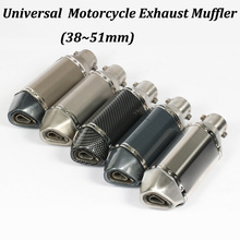 51MM Universal Motorcycle Exhaust Muffler Modified With AK Logo Motorbike Escape For CB600 MT07 YZF-R15 R25 R3 Length 310mm