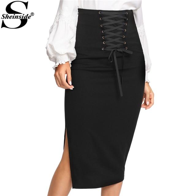 540f899fd5 Sheinside Grommet Lace Up Split Midi Skirt Black High Waist Full Length  Bodycon Skirt With Zipper