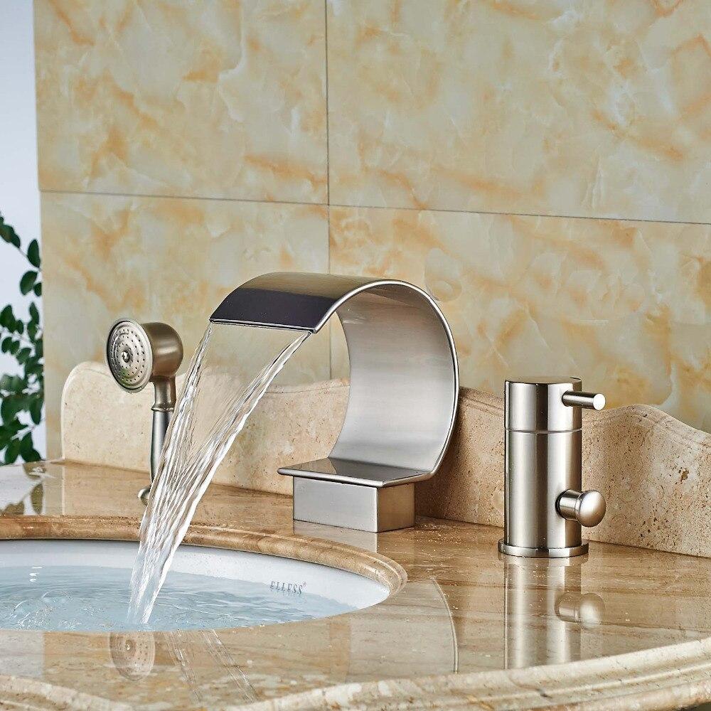 Deck Mounted Single Handle 3Pcs Brass Bathroom Bathtub Sink Mixer Tap Basin Brushed Nickel Faucet Set ulgksd basin sink faucet deck mounted mixer tap antique brass single handle bathroom faucet