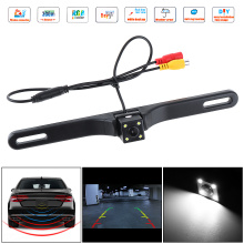 CMOS Waterproof Car Rear View Reverse Backup Square Camera Night Vision Parking Reversing Assistance with 4 LED free shipping free shipping brand new 4 pin 800tvl cmos ir night vision waterproof car rear view reverse backup camera for