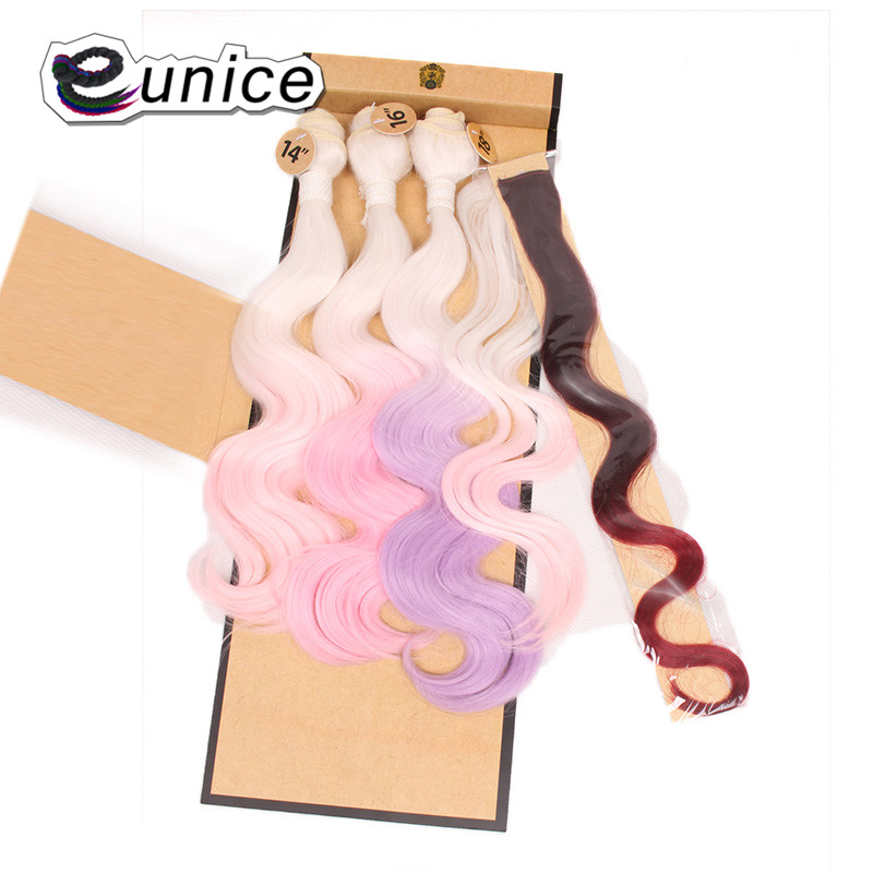 Synthetic Hair Extensions With One Closure Natural Body Wave Weft Hair Weaving Ombre Hair Weave  (91)