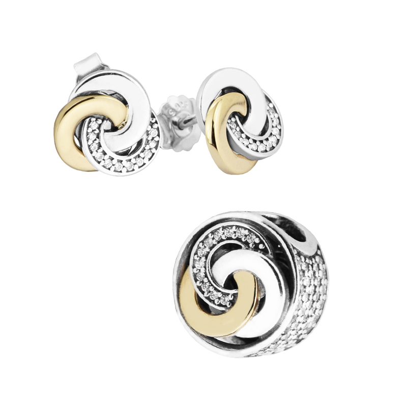 14K Real Gold Interlinked Circles Beads Stud Earrings 100% 925 Sterling Silver Clear CZ Bridal Jewelry Set for Women DIY JS523K timeout бермуды