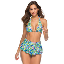 New Sexy Skirt Bikini Women Swimsuit Multi Layers Bottom Swimwear S-XL Girl Floral Print Bathing Suit Backless Halter Bikini Set fashionable halter floral print bikini set for women