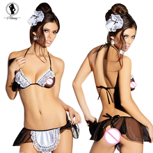 ST018 Womens Sexy Lingerie head accessories+bras+aprons+t-pants, leg loops erotic lingerie maid sexy costumes sexy underwear set