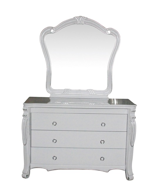 bedroom home furniture dresser table with 7 drawers mirror and stool modern style KD packaged wooden materials