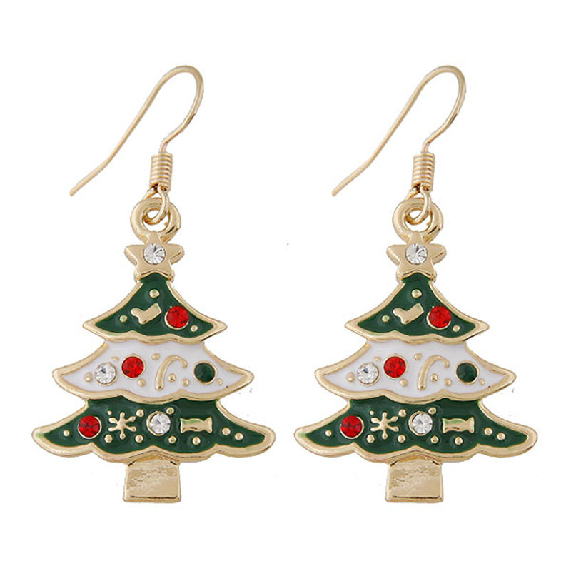 crystals crystal with tree coloured sparkling xmas brown christmas gold effect earrings