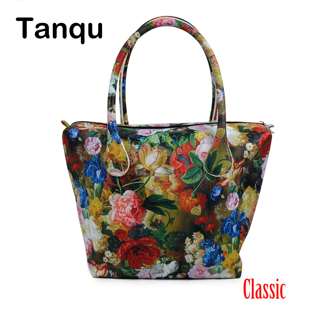 TANQU Big Waterproof Faux PU Leather Floral Insert Inner Pocket Plus Handle Combination for Classic Obag O Bag Women's Handbag
