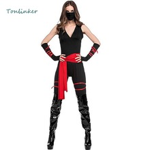 Halloween Ninja Costumes Black Cosplay Costume Assassin Adult Women Party Carnival Stage Clothes
