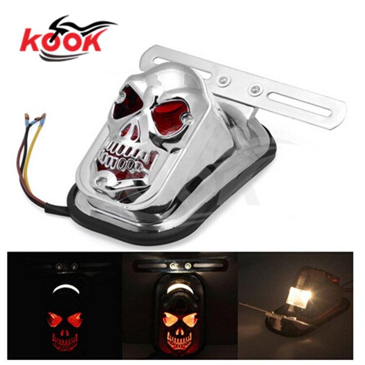 silver skull modeling skeleton part chrome motorbike tail light for harley LED moto warning signal light motorcycle brake light