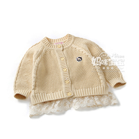 Spring Autumn New 2015 baby girls clothes kids cardigan sweater coat children clothing infant lace Splice sweaters OUTERWEAR