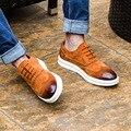 2016 A Estrenar de Los Hombres zapatos de Cuero Genuino Zapatos de Los Planos de Primavera/Otoño zapatos Casuales Zapatos de Cuero de Calidad Superior para Los Hombres Oxfords