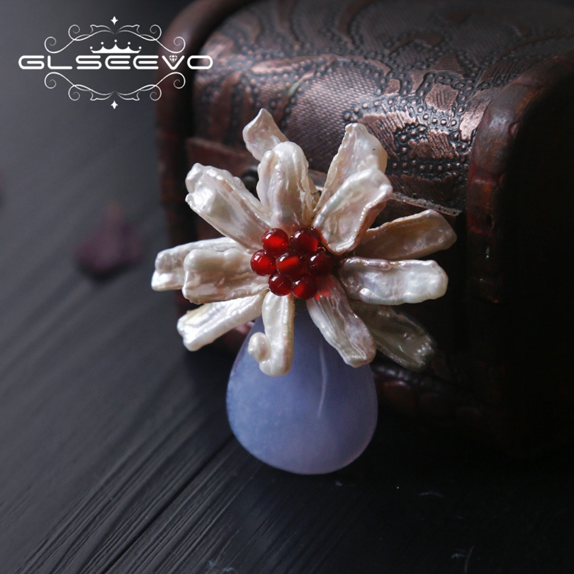 все цены на GLSEEVO Natural Fresh Water Baroque Pearl Flower Brooch Pins Blue Chalcedony Brooches For Women Dual Use Luxury Jewellery GO0206 онлайн