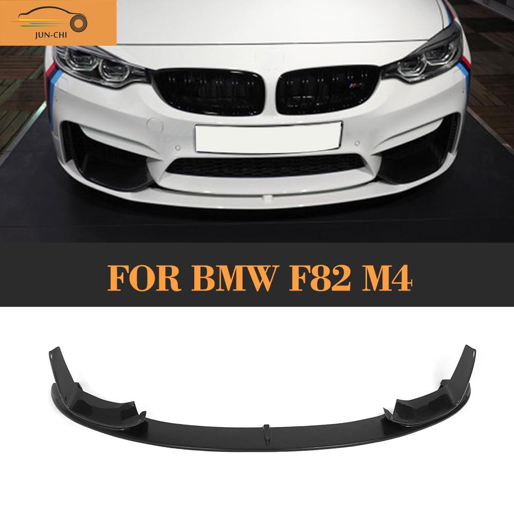 Carbon Fiber Auto Front Bumper Diffuser Lip Spoiler with Splitters for BMW F80 M3 F82 F83 M4 14-17 Black FRP