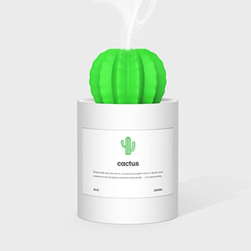 280ML Mini Cactus USB Desktop Portable Ultrasonic Air Humidifier Mist Maker Fogger for Home and Office