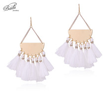 Badu Triangle Dangle Earring White Fringes Women Chic Tassel 2 Colors Bohemian Jewelry Cotton Handmade Daily Trendy