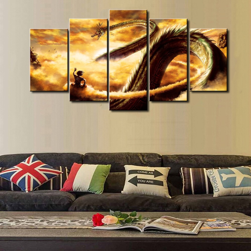 Dbz new hot sel 5 piece modular home decor wall art dragon ball cuadros lands - Decoration mural design ...