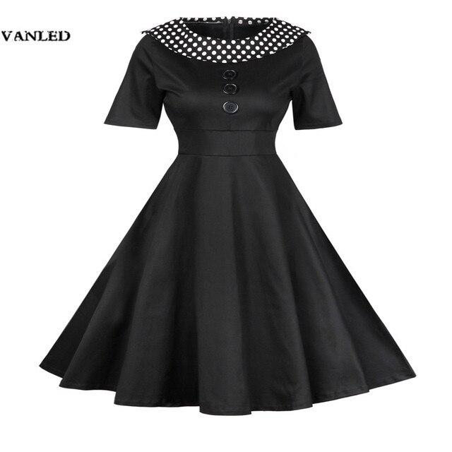 VANLED Pamuk Elbiseler Kadın Siyah Kırmızı Nokta Turn Down Yaka Vintage Elbise Geri Fermuar Diz Boyu Elbise İmparatorluğu Bel Vestidos