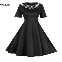 Elegant Party Dresses Women Cotton Vintage Dot Turn Down Collar Short Sleeve Fit And Flare Knee