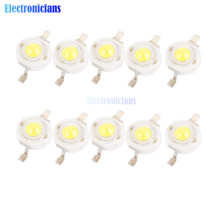 10PCS 1W LED High power Lampe perlen Pure White 300mA 3,2-3,4 V 100-120LM 30mil