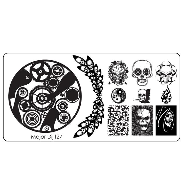 Gear Run Spider Skull Fashion Zombies Hallowmas Theme Nail Art Stamp ...