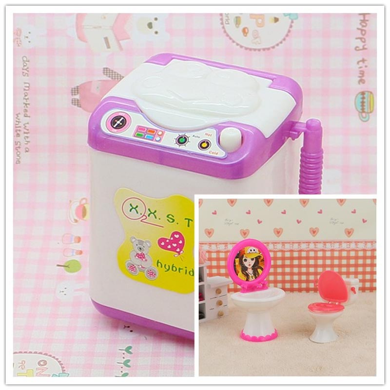 Cute Doll Washing Machine Mini Washer Dollhouse Furniture Accessory Bathroom  Set Toilet And Sink For Barbie