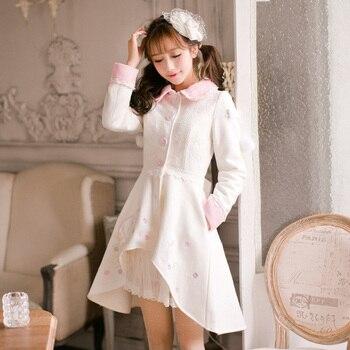 Princess sweet white coat Candy rain flower Wool ball decoration embroidery Single breasted skirt hem Japanese design  C16CD6205