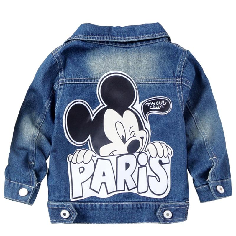 Hot Children Denim Jacket Coat 2019 New Autumn Kids Fashion Cartoon Outerwear Baby Boys Girls Hole Jeans Mickey Coat Clothing