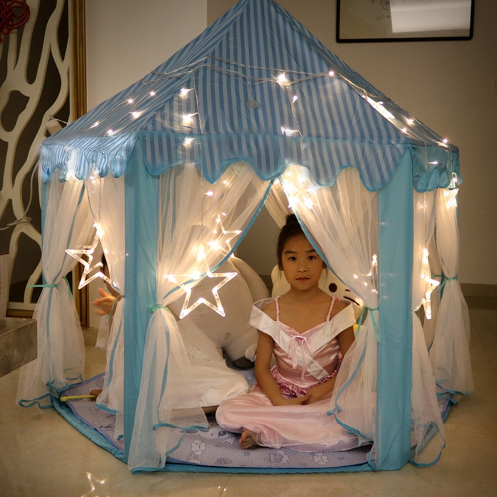 140x135 cm grande princesse château Tulle enfant maison jeu vente jouer tente yourte Creative développer extérieur intérieur lumières balles jouets