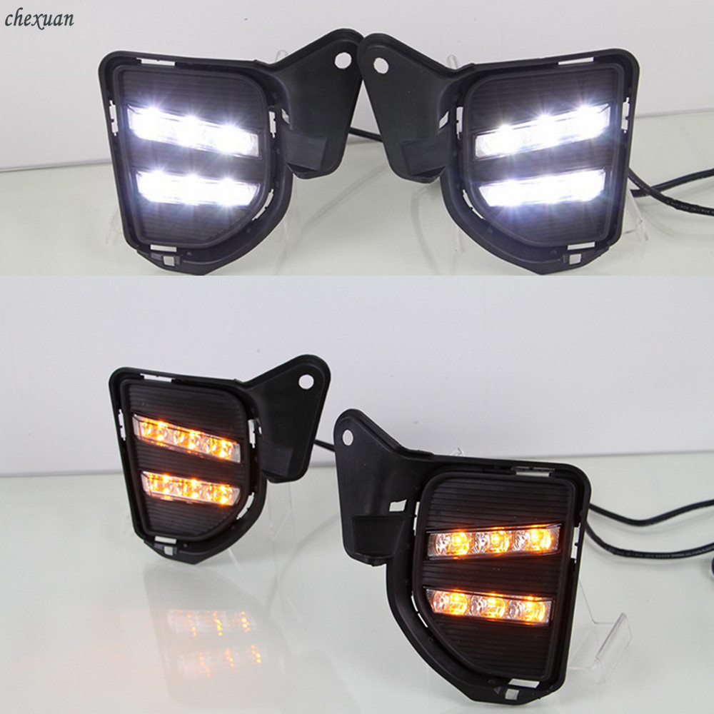 CSCSNL 1 set Yellow Turning Signal Function Led Daytime Running Lights DRL fog lamp cover For