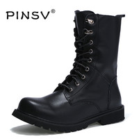 Winter Martin Military Boots Men Shoes Cow Split Leather Men Boots Mid Calf Fur Boots For