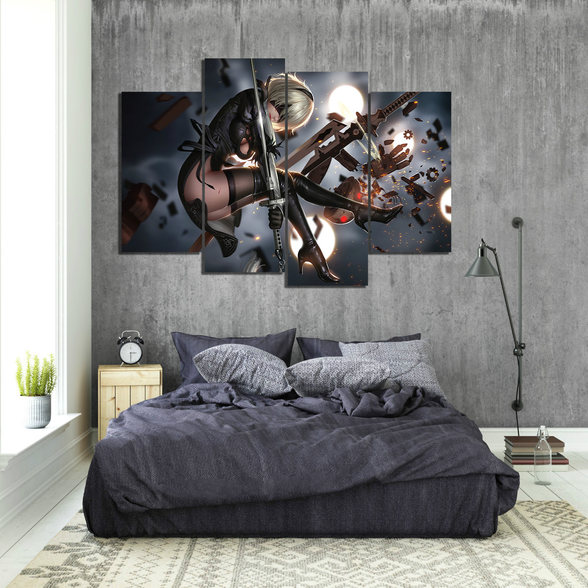 4 Panels HD Anime Girl Pictures Game Poster NieR Automata Paintings Canvas Art for Home Decor
