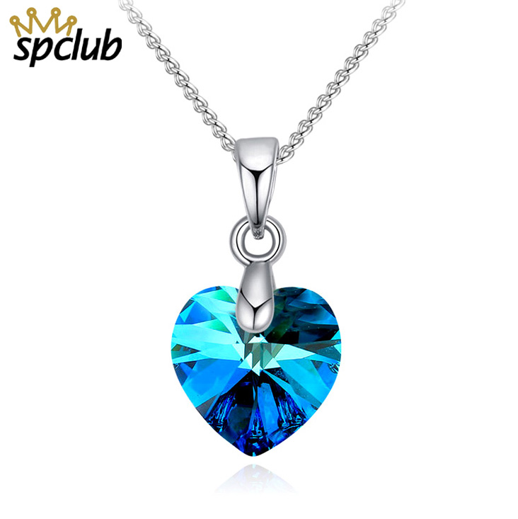 SPCLUB Crystals From SWAROVSKI Mini XILION Heart Pendant Necklace Silver Color Chain Necklaces For Women New Jewelry Girls Gift
