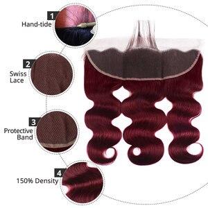 Image 5 - 99j חבילות עם פרונטאלית סגירה ברזילאי שיער Weave חבילות ורגונדי גוף גל 3 חבילות עם חזיתי רמי AliPearl שיער